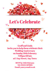 red heart circle invitations