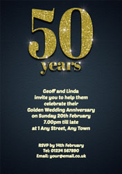 50th sparkle anniversary invitations