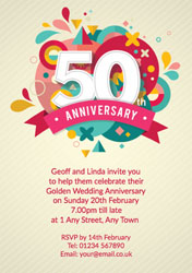 50th abstract anniversary invitations