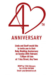 40th ruby heart invitations