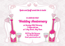 pink bottles anniversary invitations