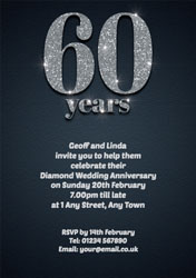 60th sparkle anniversary invitations