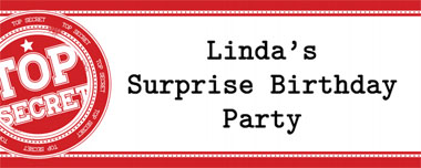 red top secret party banner