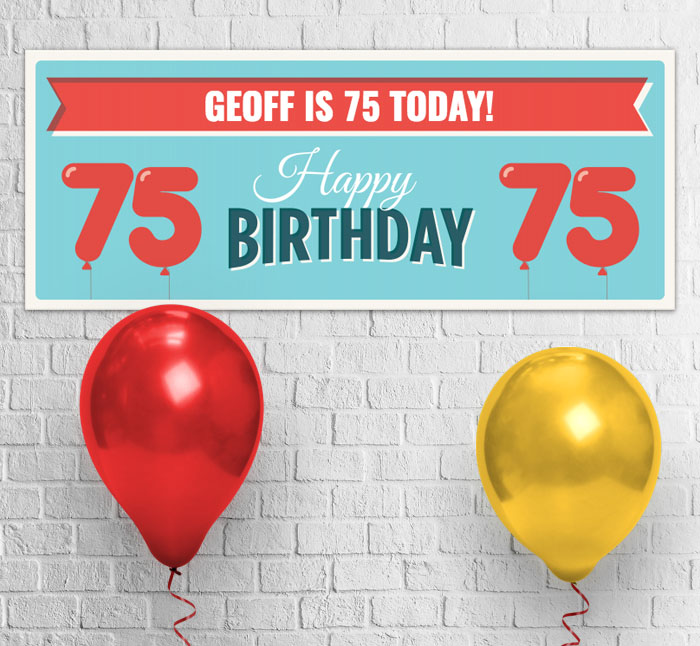 75th Balloons Party Banner