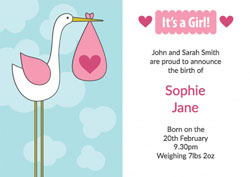 pink baby stork announcements