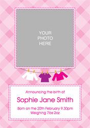 pink checked baby announcements