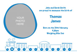 blue train baby announcements