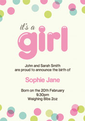 dotty baby girl announcements