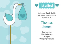 blue baby stork announcements