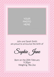 pink stripes baby announcements