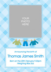 blue checked baby announcements