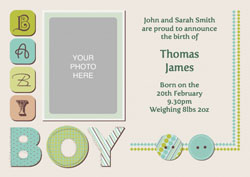 boys patchwork baby announcements