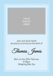 blue stripes baby announcements