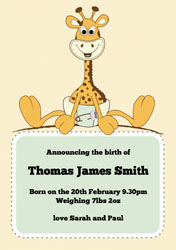 giraffe baby announcements