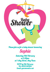 mobile heart baby shower invitations