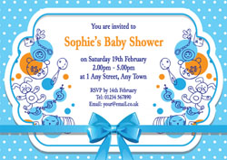 blue bow baby shower invitations