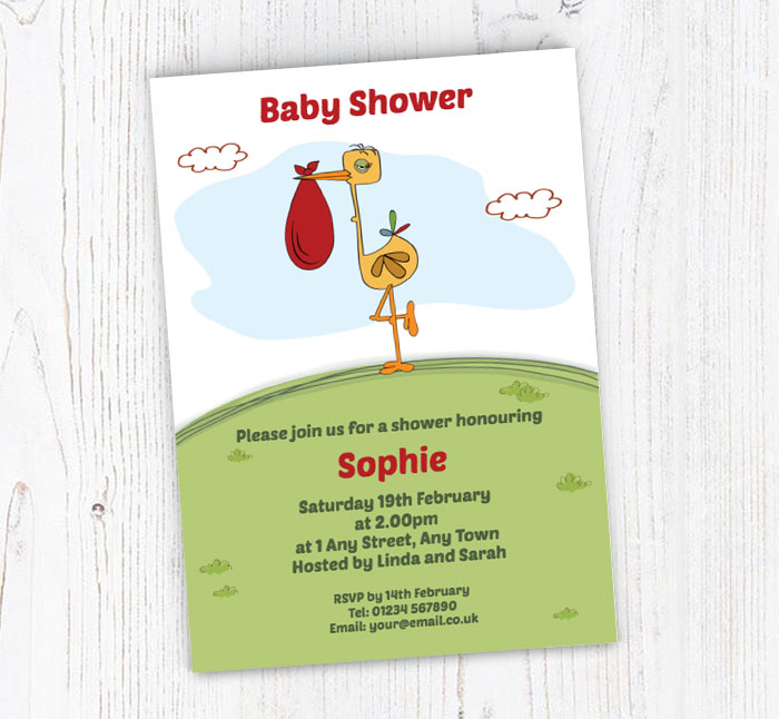Stork baby shower invitations customise online plus free envelopes stork baby shower invitations filmwisefo
