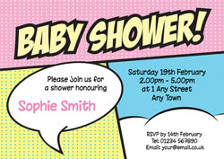 pop art baby shower invitations