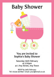 pink pram baby shower invitations