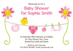 pink sunflowers baby shower invites