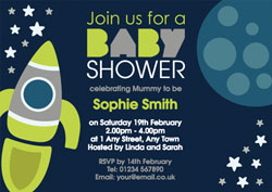 space rocket baby shower invitations