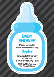 blue bottle baby shower invitations