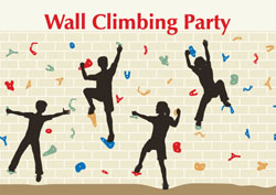 wall climbing party invitations