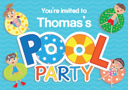 pool inflatables party invitations