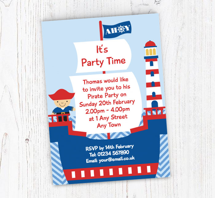 pirate boat birthday party invitations customise online plus free