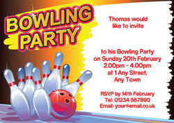 bowling alley party invitations
