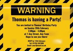 warning party invitations