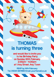 teddy bear flying invitations