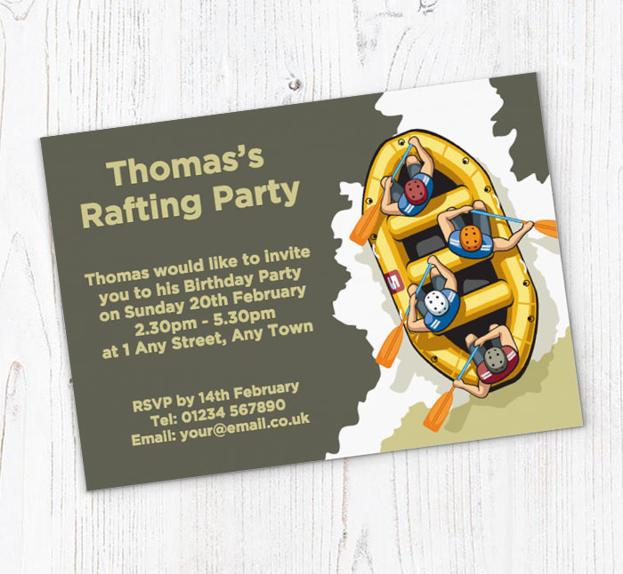 Water Rafting Party Invitations | Customise Online Plus ...