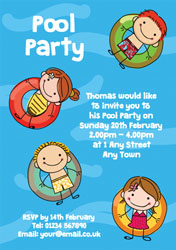 kids on inflatable rings invitations