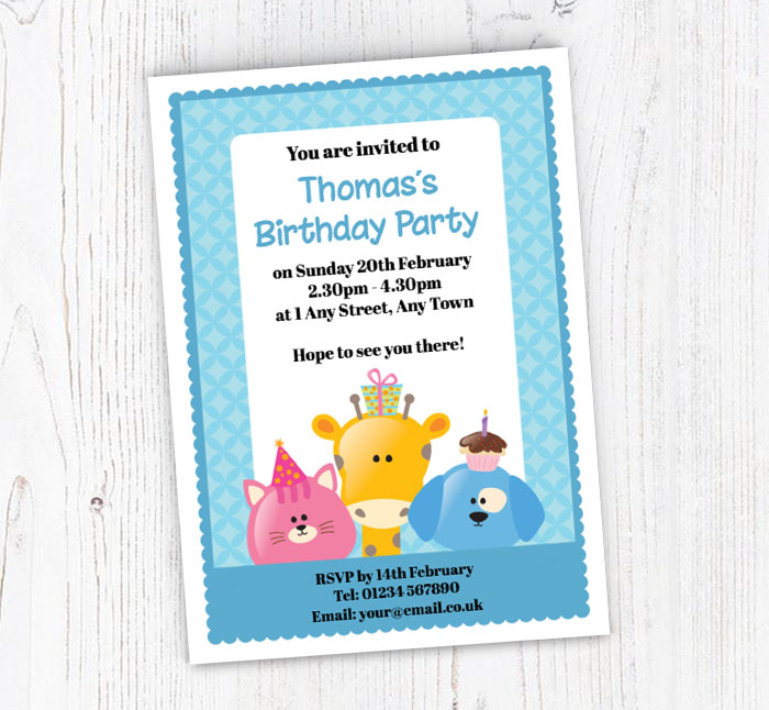 Cat Giraffe And Dog Party Invitations