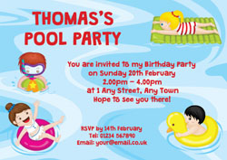 pool fun party invitations