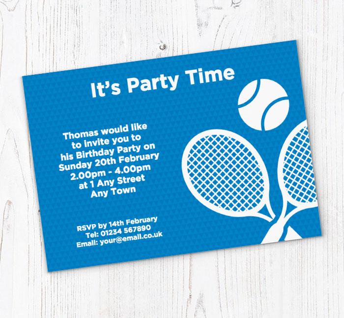 Tennis party invitations customise online plus free envelopes and tennis party invitations filmwisefo