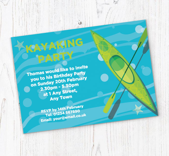 Green Kayak Party Invitations