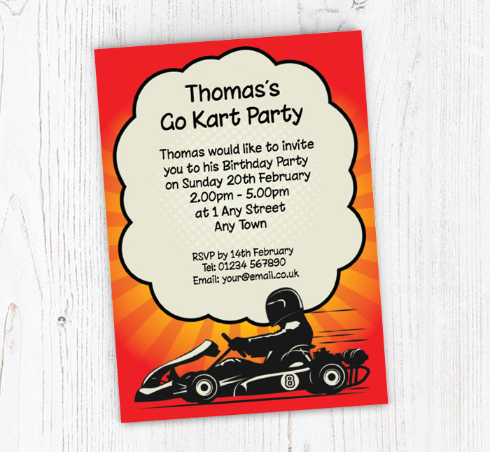 Racing Go Kart Party Invitations Customise Online Plus Free