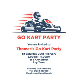 Go Kart Party Invitations Customise Online Plus Free Envelopes and