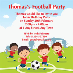 childrens football party invitations