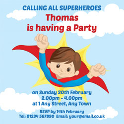 boys superhero personalised invitations