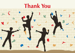 wall climbing thank you cards