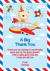 teddy bear flying thank you cards
