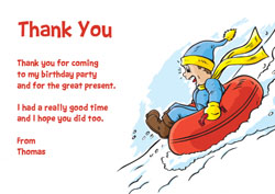 snow tubing thank you cards