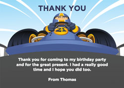 go kart thank you cards
