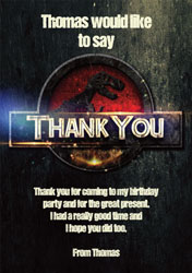 jurassic thank you cards