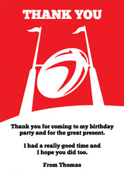 red rugby thank you cards