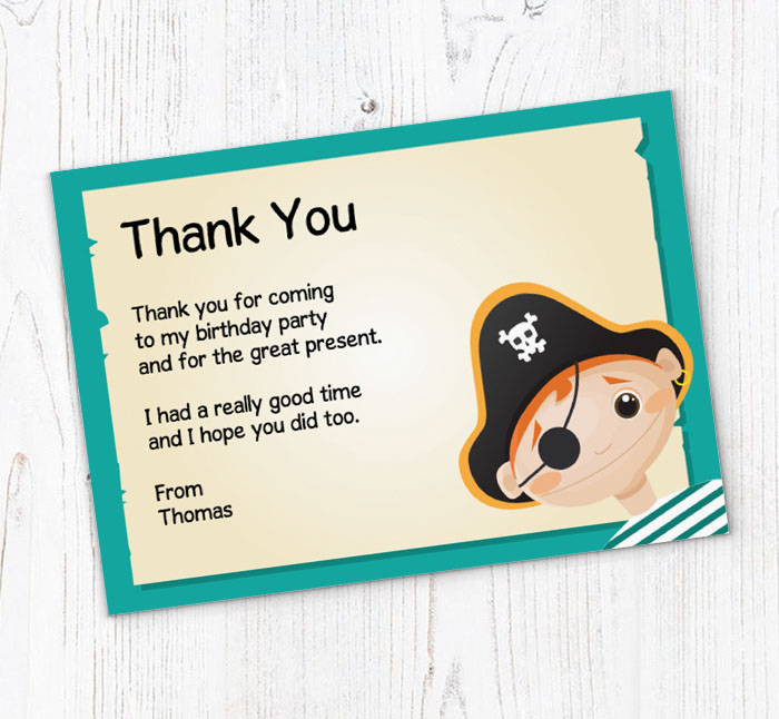 Boys Pirate Thank You Cards