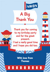 pirate boat thank you cards